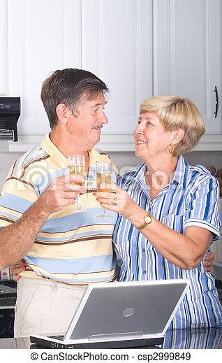 senior couple drinking wine - csp2999849