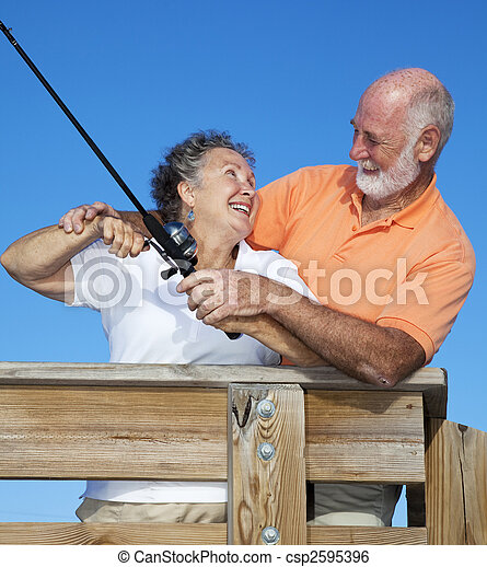 Senior Couple Fishing Together - csp2595396