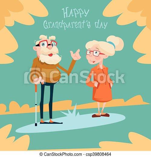 Senior couple grandparents day greeting card flat vector illustration senior couple grandparents day greeting card csp39808464 m4hsunfo