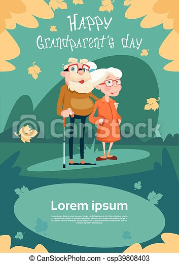 Senior couple grandparents day greeting card flat vector illustration senior couple grandparents day greeting card csp39808403 m4hsunfo