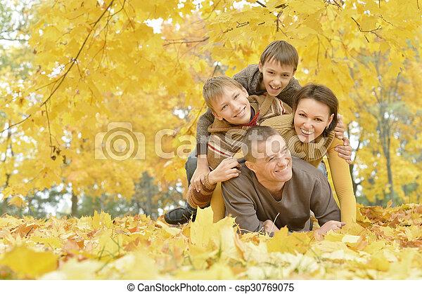 Senior couple in autumn park - csp30769075