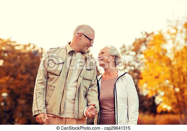 senior couple in park  - csp29641315