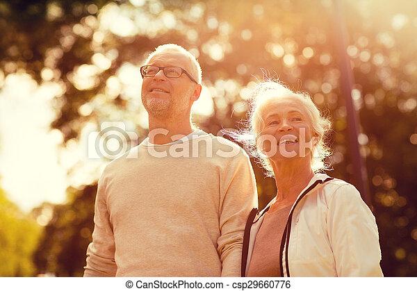 senior couple in park - csp29660776