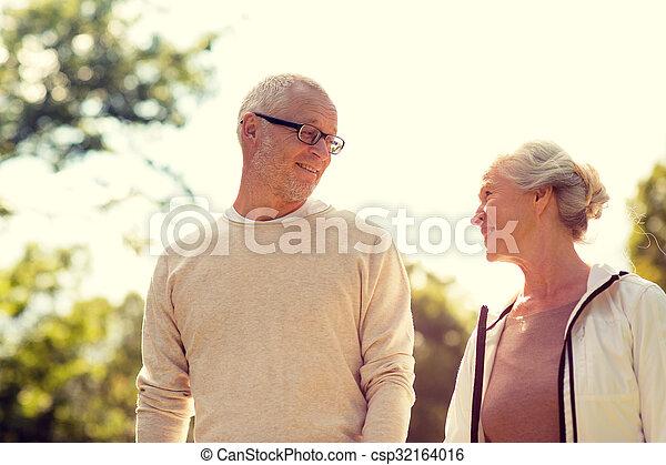 senior couple in park - csp32164016