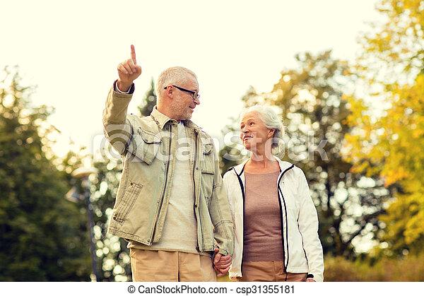 senior couple in park - csp31355181