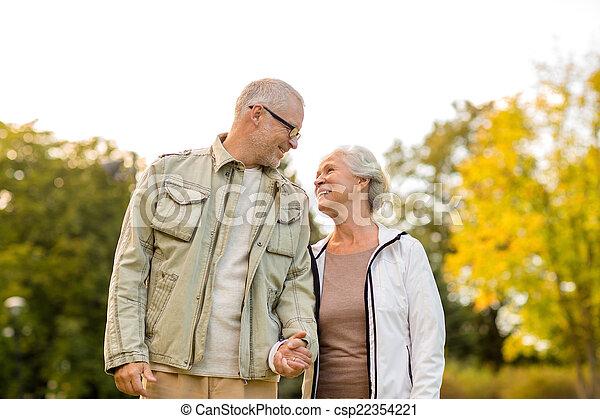 senior couple in park - csp22354221