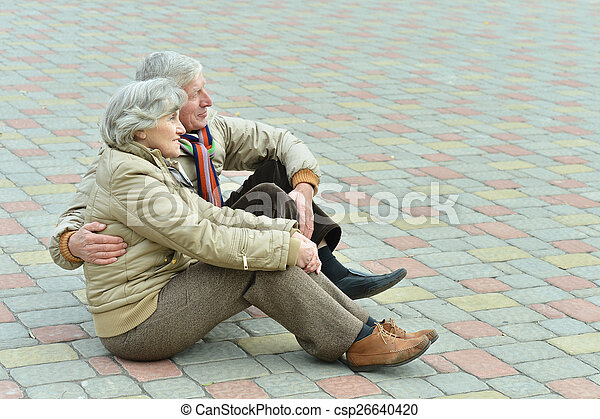 Senior couple in park  - csp26640420