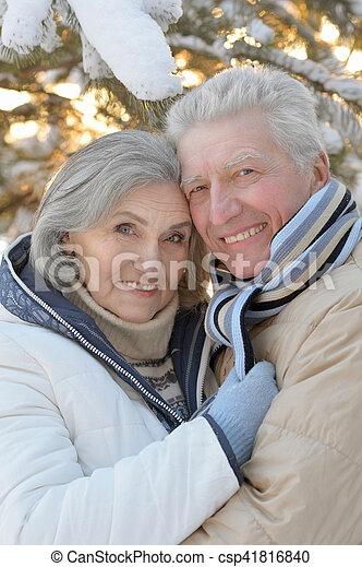 Senior couple in park - csp41816840