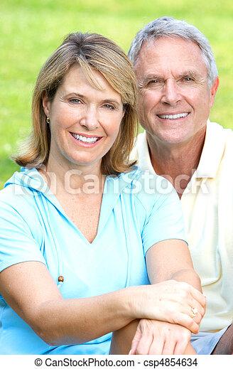 senior couple in park - csp4854634
