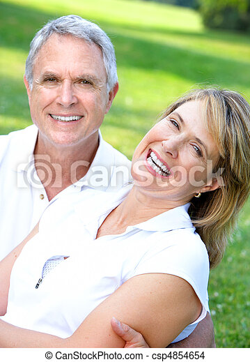 senior couple in park - csp4854654