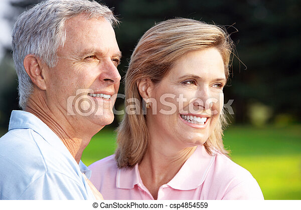 senior couple in park - csp4854559