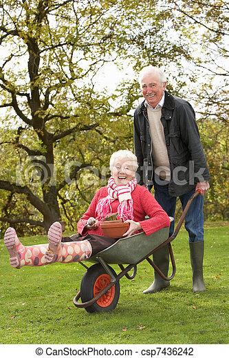 Senior Couple Man Giving Woman Ride In Wheelbarrow - csp7436242