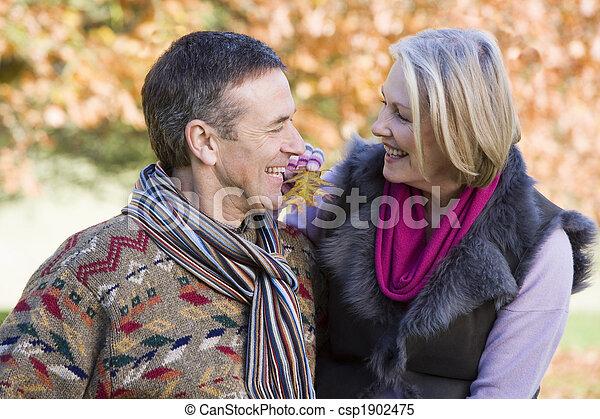Senior couple on autumn walk - csp1902475