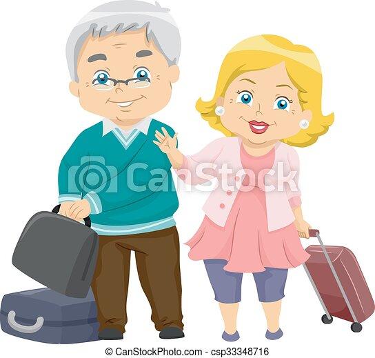 Senior couple travel. Illustration of an elderly couple ...