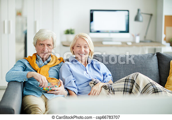 Senior Couple Watching TV
