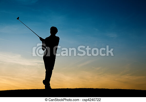 Senior female golf player at sunset - csp4240722