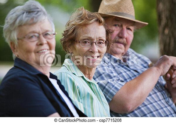 Senior friends sitting together in park - csp7715208