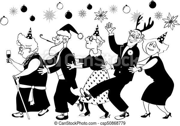 3f6bf04f874b8 Senior group christmas party. Group of active seniors dancing conga ...