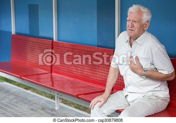 Senior having pain in chest - csp30879808