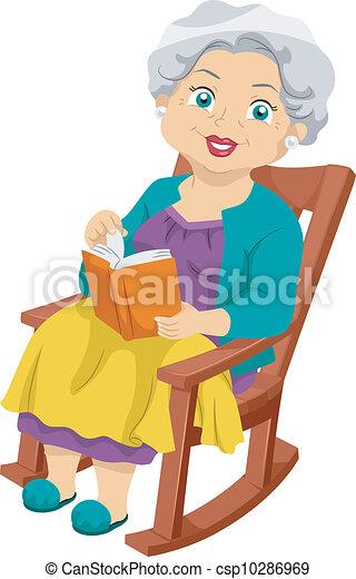 senior, het wiegen stoel - csp10286969