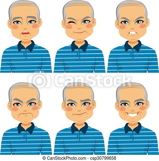 senior, kaal, uitdrukkingen, man confronteren - csp30799658