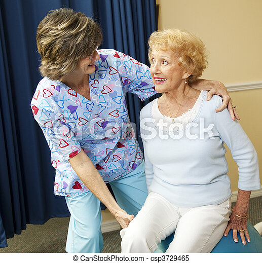 Senior Lady and Physical Therapist - csp3729465