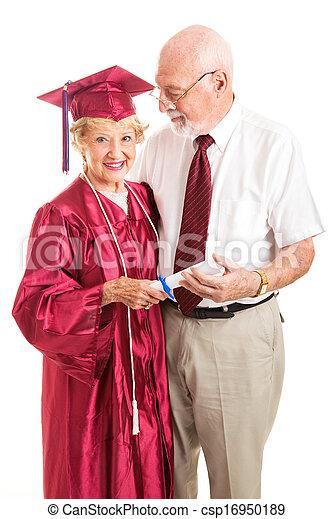 Senior Lady and Spouse Celebrate Her Graduation - csp16950189
