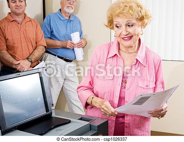 Senior Lady Voting - csp1026337