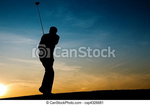 Senior male golf player at sunset - csp4326681