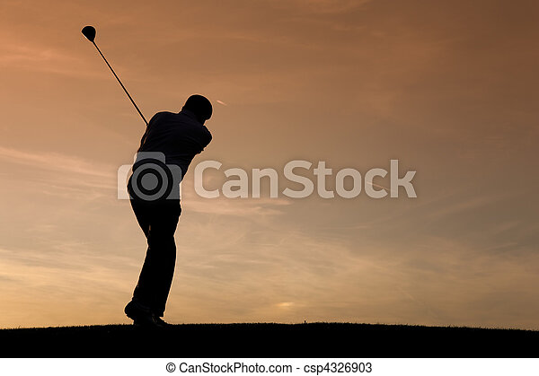 Senior male golf player at sunset - csp4326903