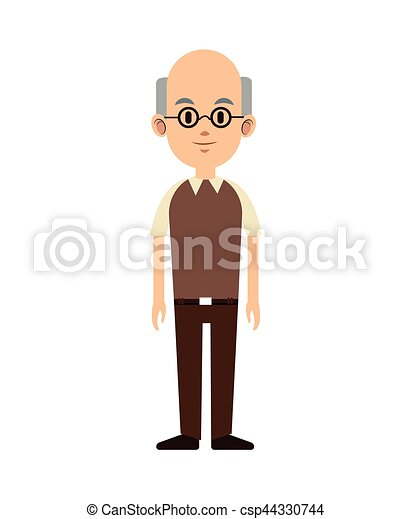 senior man bald with glasses and vest - csp44330744