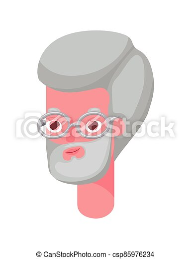 Senior man cartoon head with glasses vector design - csp85976234