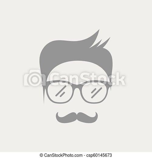 Senior man face with glasses - csp60145673