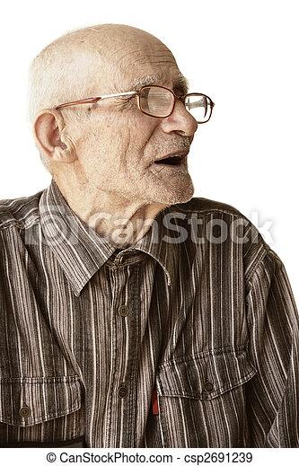 Senior man in eyeglasses sideview - csp2691239