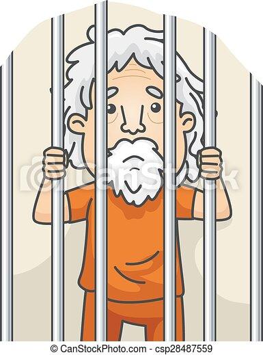 Senior man jail. Illustration of a senior citizen still ...