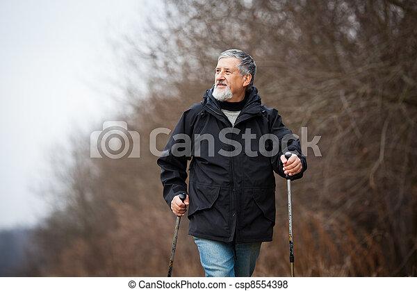 Senior man nordic walking - csp8554398