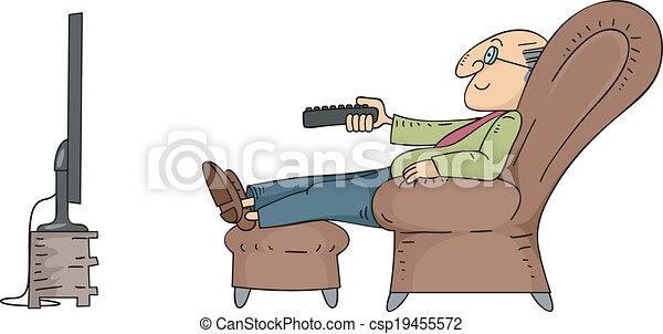 Senior Man Watching TV - csp19455572