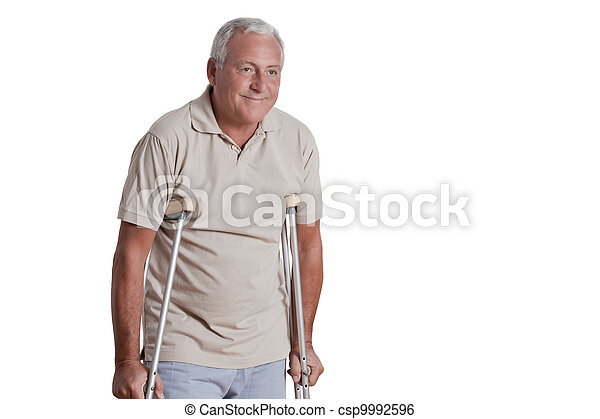 Senior Man with Crutches - csp9992596
