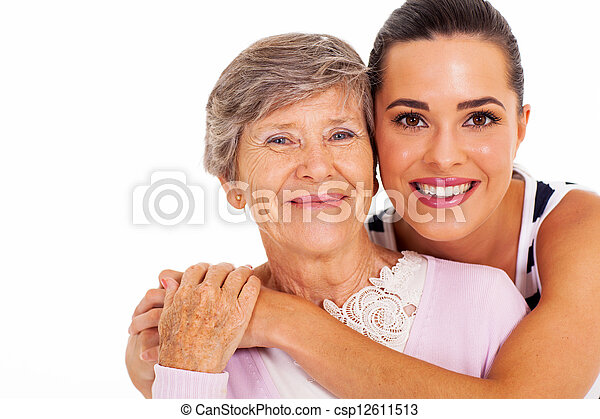 senior mother and adult daughter - csp12611513