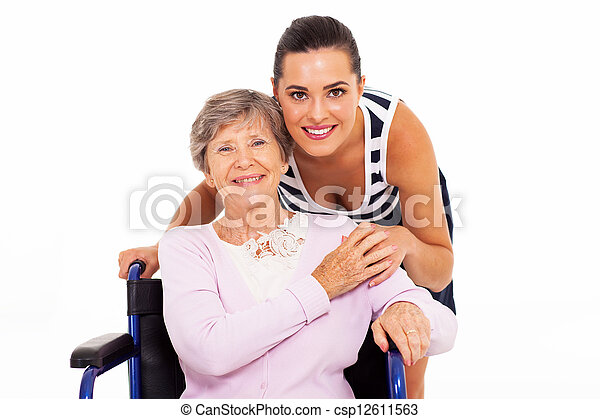 senior mother with her adult daughter - csp12611563