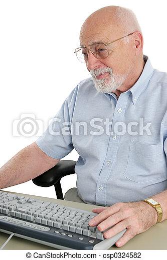 Senior on Computer - csp0324582