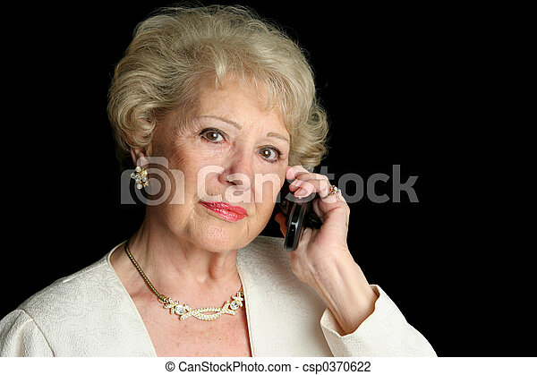 Senior on Serious Phone Call - csp0370622