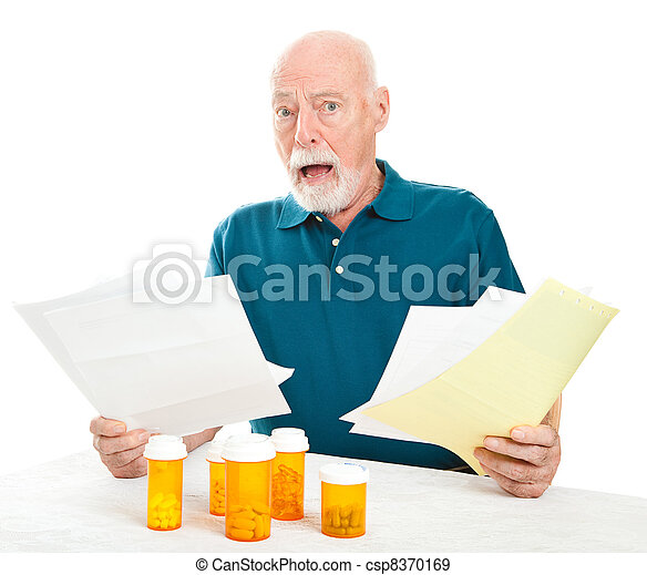 Senior Overwhelmed by Medical Costs - csp8370169
