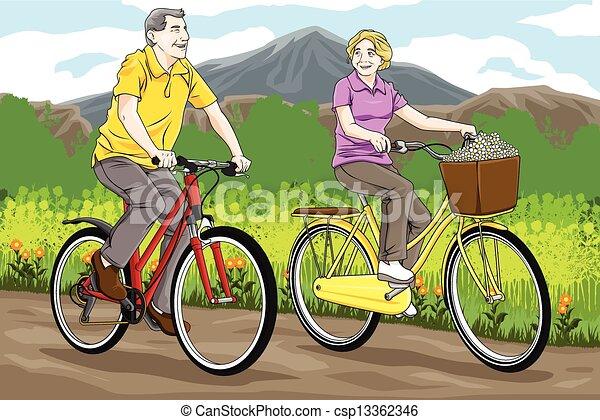 Senior people biking - csp13362346