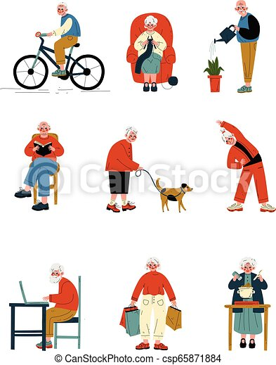 Senior People Daily Activity Set, Elderly Men and Women Walking, Reading, Cooking, Shopping, Doing Sports Vector Illustration - csp65871884