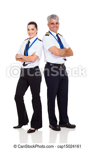 senior pilot and female co-pilot - csp15024161