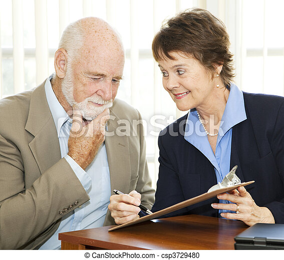 Senior Reluctant to Sign Contract - csp3729480
