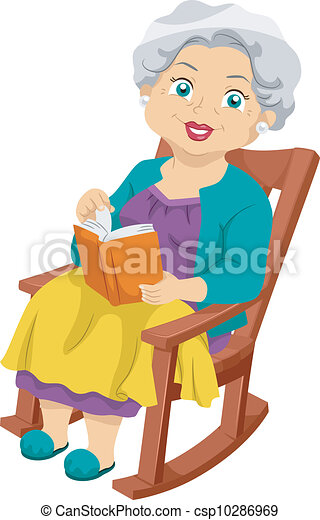 Senior Rocking Chair Illustration Featuring An Elderly