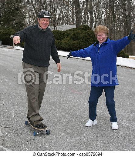 Senior skateboarding - csp0572694