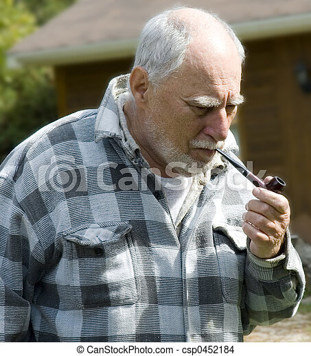 senior with a pipe 1 - csp0452184